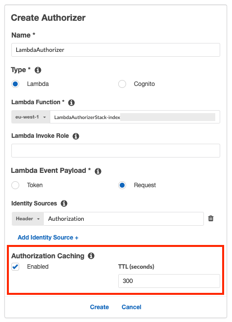 An authorizer with authorization caching enabled.